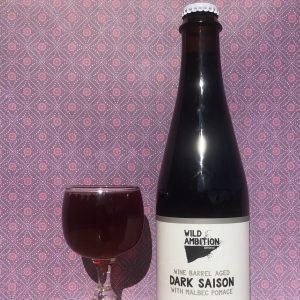 Wine Barrel Aged Dark Saison with Malbec Pomace